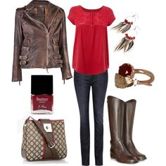 Red and Brown, created by lagu.polyvore.com