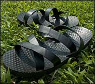 Tire Sandals: Innovative footwear recycled from old tires.