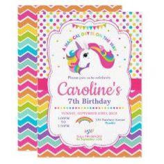 Unicorn Birthday Party Invitations Rainbow