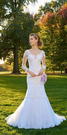 Camille La Vie Lace Illusion Sleeve Wedding Dress