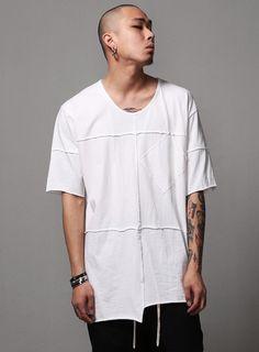 Multi Seamed Unbalance Raw Cut T-Shirt $28.80  #men #fashion #style #street #tee #top #shorts #rawcut #long #black #white