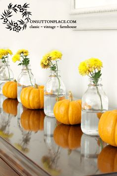 Mums and Mini Pumpkins...great for mantel...