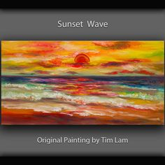Art landscape painting abstract Ocean Sunrise art original Color Sky Vivid Beach art large acrylic painting on canvas by Tim lam 48x24x1.3 on Etsy, $329.00