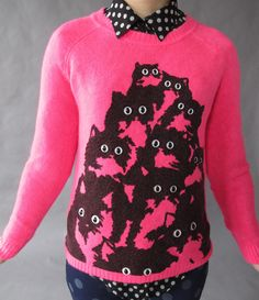 Neon Pink Crazy Kitty Sweater L by PrettySnake on Etsy