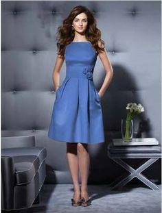 cornflower blue high neckline bridesmaid dress