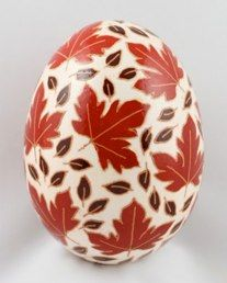 These pysanky were written on brown chicken eggs and then acid etched