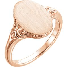14K Rose Oval Signet Ring (Style 51659)