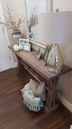 Home Decorating Ideas Bedroom rustic farmhouse entryway table. by ModernRefinement on Etsy Home Decorating Ideas Bedroom Source : rustic farmhouse entryway table. by ModernRefinement on Etsy by Share Entryway Console Table, Entryway Decor, Entryway Ideas, Foyer Table Decor, Hallway Tables, Entryway Furniture, Living Room Decor Table, Console Tables, Furniture Ideas