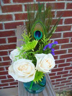 peacock, wedding, centerpiece