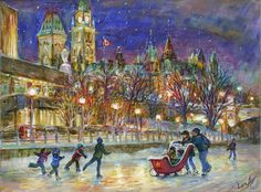 """Skating Fan. Ottawa Canada. Rideau Canal, Parliament. Evening, Sunset. 12x16"""" - Oil on Canvas Painting by Ottawa Artist Elena KhomoutovaView and buy this Acrylic on Canvas Painting by Elena Khomoutova"""