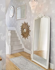 Laura Ashley Swan wallpaper mirrors-I have this one! Swan Wallpaper, Hall Wallpaper, Silver Wallpaper, Wallpaper Wallpapers, Grey Wallpaper Hallway, Coastal Wallpaper, Grey And White Wallpaper, Print Wallpaper, Pattern Wallpaper
