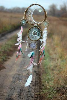 """Купить Ловец снов """"Билет до Луны - бледно-розовый, ловец, ловец снов, ловец сновидений"""