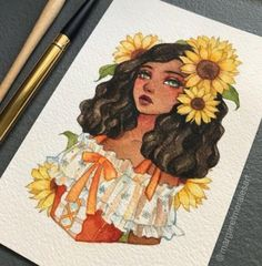 Margaret Morales is a visual designer, painter and watercolor artist from Philippines. Art Drawings Sketches, Cute Drawings, Girl Drawings, Drawing Girls, Cute Girl Drawing, Colorful Drawings, Pretty Art, Cute Art, Art And Illustration