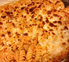Rotini Pasta Bake 1 box Rotini 1 jar Alfredo Sauce 1/2 jar/can Pasta Sauce/Marinara 1 cup Mozzarella cheese   *Cook pasta to al dente, drain well *Mix with both sauces in 9x9+ cass dish  *Cover with Mozzarella cheese *Bake at 350 for 15 mins then BROIL 5 additional mins to brown and bubble  - can add browned/drained sausage for the meat lover or for veggies add spinach and or diced drained tomatoes