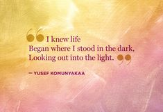 I knew life began where I stood in the dark, looking out into the light. Yusef Komunyakaa #quote