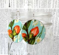 Upcycled flower tin earrings made from a vintage tin by PerfectTin