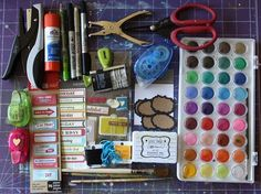 Ronda's travel journal art supplies...this pic makes me happy:)