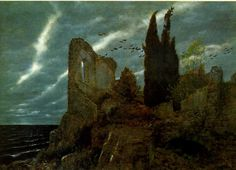 Arnold Böcklin (1827-1902);  Ruins by the Sea, 1880;  Oil on panel