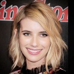 Pin for Later: Blobs (Blond Lobs) Are Having a Major Hair Moment Emma Roberts Emma's shaggy 'do makes the case for deep-side parts and beachy texture.