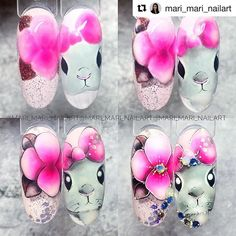 Manicure Nail Designs, Nail Manicure, Nail Art Designs, Pin On, Easter Nails, Disney Nails, Hair Beauty, Hand Painted, How To Make