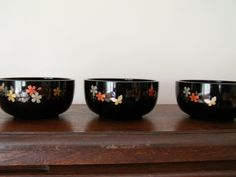 Items similar to Set of 3 Japanese lacquer bowl on Etsy Black Clay, Decorative Bowls, Japanese, Unique Jewelry, Tableware, Handmade Gifts, Vintage, Etsy, Home Decor