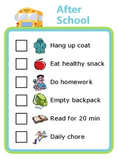 An after school checklist is a great way to help your kids stay organized! - An after school checklist is a great way to help your kids stay organized! You can edit this to mak - After School Checklist, After School Routine, Kids Checklist, School Routines, Daily Checklist, Night Routine, Cleaning Checklist, Cleaning Lists, Kids Schedule