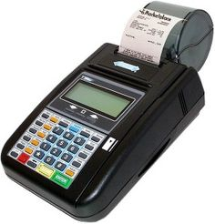 hypercom t7 plus dial up for analog phone connection,  credit card machine, credit card processing equipment, with thermal printer, credit card reader swipe. creditmachines.com