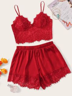 To find out about the Lace Bustier Crop Cami Top & Shorts PJ Set at SHEIN, part of our latest Sexy Lingerie ready to shop online today! Cute Pajama Sets, Pj Sets, Cropped Cami, Cami Crop Top, Pretty Lingerie, Lingerie Set, Lingerie Models, Online Lingerie, Pajama Outfits
