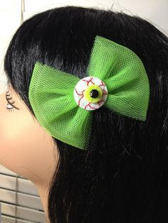 Neon Green Tulle Halloween Eye Ball Hair Bow by ClassyNTrashy, $6.00