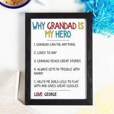 Grandad or Grandpa will be spoiled this fathers day when he gets this personalised print letting him know why you all love grandad or grandpa.grandad, grandpa, gramps, dad, daddy, pa, papa, dada, or even any name you want. Available framed and unframed.A perfect gift for granddad or grandpa this fathers day. A real superdad gift. Let dad or daddy know why she is so special to you all with this special gift for dad. Simply enter into each of the boxes. It might be dad always knows just want…