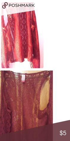 Maroon cardigan This product is a lace,short, cardigan in the color red/Maroon. Tops