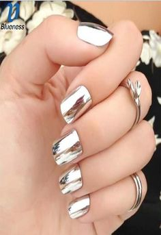 Looking for silver nail ideas? From Metallic to stripes to glitter nails, discover your favorite silver nail art with our list of the top 30 silver nail designs Silver Nail Designs, Silver Nail Art, Flower Nail Designs, Metallic Nails, Glitter Nail Art, Nail Art Designs, Glitter Mirror, Gold Nails, Nail Swag