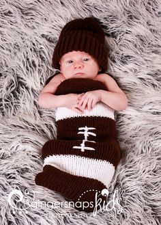 My Football Infant Baby Knit Seed Pod Cocoon Plus Hat by ventichai