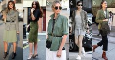 5 Ways to Wear Khaki, tailored, military, summer, autumn, funnel neck, choker, ghillie heels, pleated skirts, cold shoulder, snakeskin, bardot   NL Daily