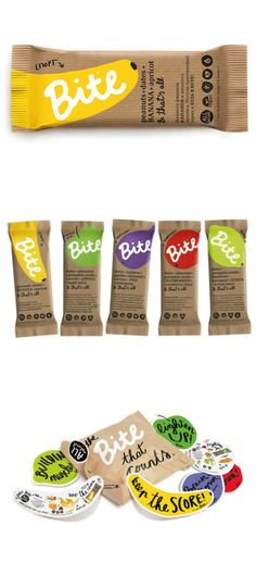 [ illustrations + color palette + cohesive branding design + #packaging ]  Bite | by Peter Gregson