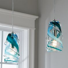Kitchen Pendant Lighting, Kitchen Pendants, Glass Pendants, Pendant Lights, Coastal Lighting, Coastal Decor, Chandeliers, Aqua Color Palette, Blown Glass Pendant Light