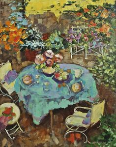 Tea on the Terrace by Sharon Furner Oil ~ 20 x 16