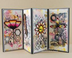 Fancy Fold Cards, Folded Cards, Distress Oxides, Journal Cards, Copic, Atc, Art Journals, Mixed Media, December