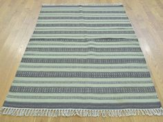 Reversible Pure Wool Flat Weave Striped Durie Kilim Rug- Product:3-9-x5-9-Reversible-Pure-Wool-Flat-Weave-Striped-Durie-Kilim-Rug-Sh30023