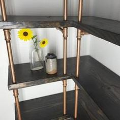 Custom Industrial Furniture, Industrial Copper pipe shelving, pantry shelves, closet shelving, copper shelves, IndustrialEnvy.com