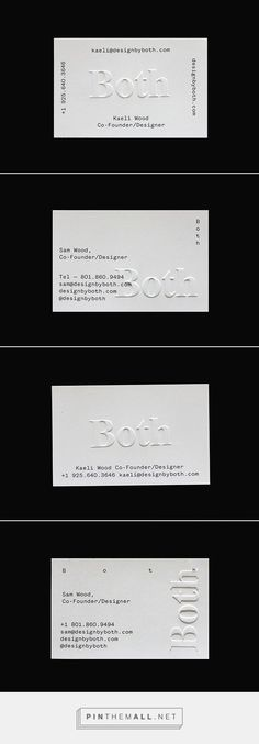Both Branding on Branding Served - created on Business Card Maker, Business Cards Layout, Minimal Business Card, Unique Business Cards, Business Branding, Business Card Design, Embossed Business Cards, Letterpress Business Cards, Logo Design
