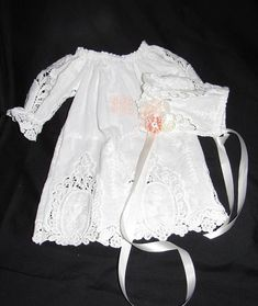 Christening dress with bonnet and slip - light ivory embroidery with 1800 French style open work embroidery at hem line and sleeves - This sweet gown is sure to be passed around the family over the years . ****Monogram embroidery in light peach -- ****bonnet is adored with