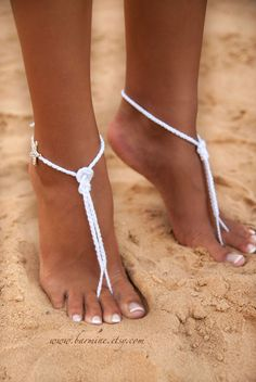 Nautical bridal foot jewelry, Starfish Beach wedding barefoot sandals, white bridal accessories for wedding, the knot - These bridal barefoot sandals are perfect for your wedding. Made with soft white cotton with s - Beach Wedding Jewelry, Wedding Shoes, Wedding Beach, Trendy Wedding, Beach Wedding Sandals, Bridal Shoes, Bridal Jewelry, Crochet Barefoot Sandals, Gorgeous Feet