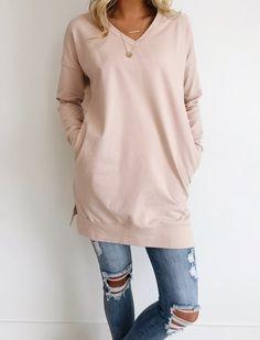 43928992e6b Blush Sweater Long Sleeve + Extended Hem Split Sides V-Neck + Relaxed Fit  Long