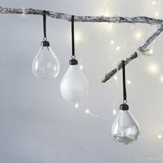 Buy Antique Teardrop Baubles – Set of 3 - from The White Company Christmas Decorations Online, Holiday Crafts, White Christmas, Christmas Holidays, Xmas, The White Company, Luxury Gifts, Christmas Shopping, Fairy Lights