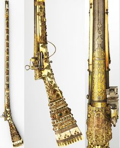 "Ottoman miquelet gun, late 18th c, steel, wood, ivory, brass, mother-of-pearl, paste jewels, Cal, .49 in. (12.45 mm), L, 60 3/4 in. (154.31 cm), Met Museum. The miquelet is an early, sturdy form of flintlock popular in the Ottoman Empire from the 17th to the early 20th c. Several elaborately decorated guns similar to this one are preserved in Istanbul, possibly made for the Ottoman Imperial guard. Lock inscribed: ""Muhammad Ayyubi"", on the barrel: a Turkish test mark and an undecipherable…"