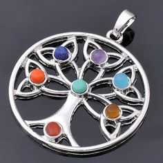 Chakra Silver Plated Tree of Life Pendant Necklace