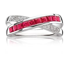 Red Ruby Gemstone Diamond Crossover Ring in 10K White Gold