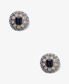 """Bejeweled Pattern Earrings in BLUE/CLEAR. 1"""" in diameter. If you haven't already noticed... I have a tiny obsession with studs ;)"""