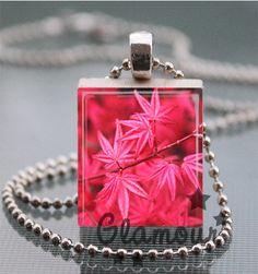 Pink Woodland Scrabble Tile Pendant Necklace | c0nfus3dgurl - Jewelry on ArtFire